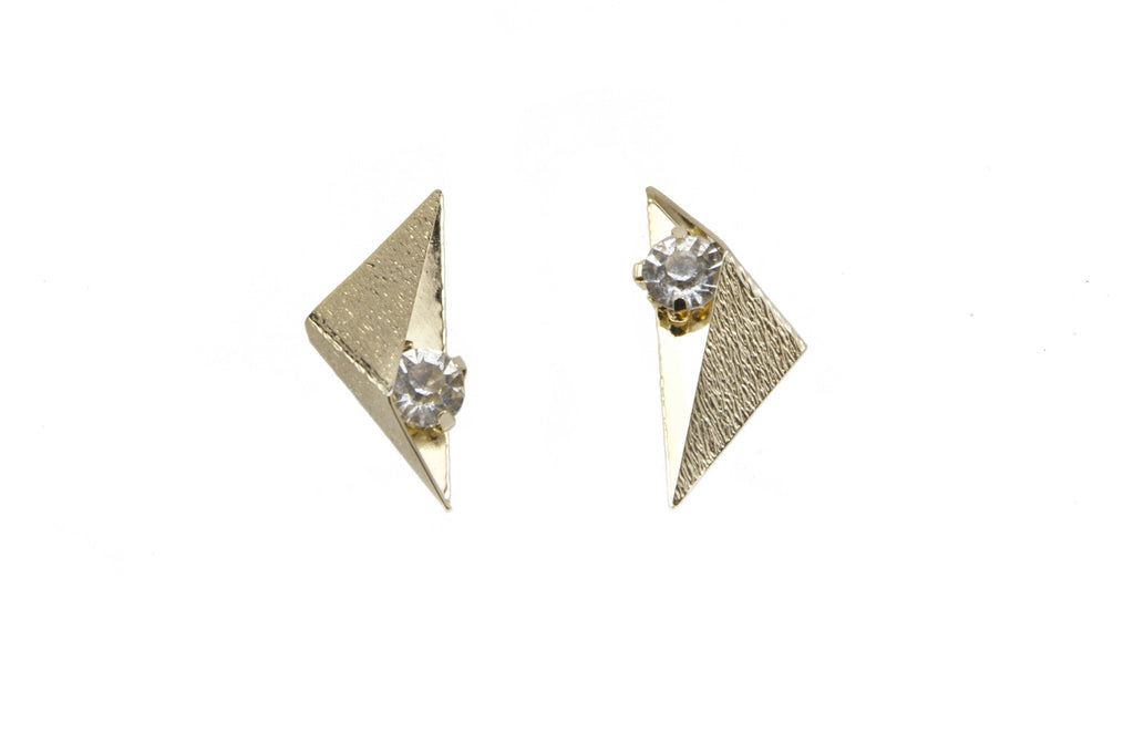 14 kt plated gold earrings with clear swarovski crystal