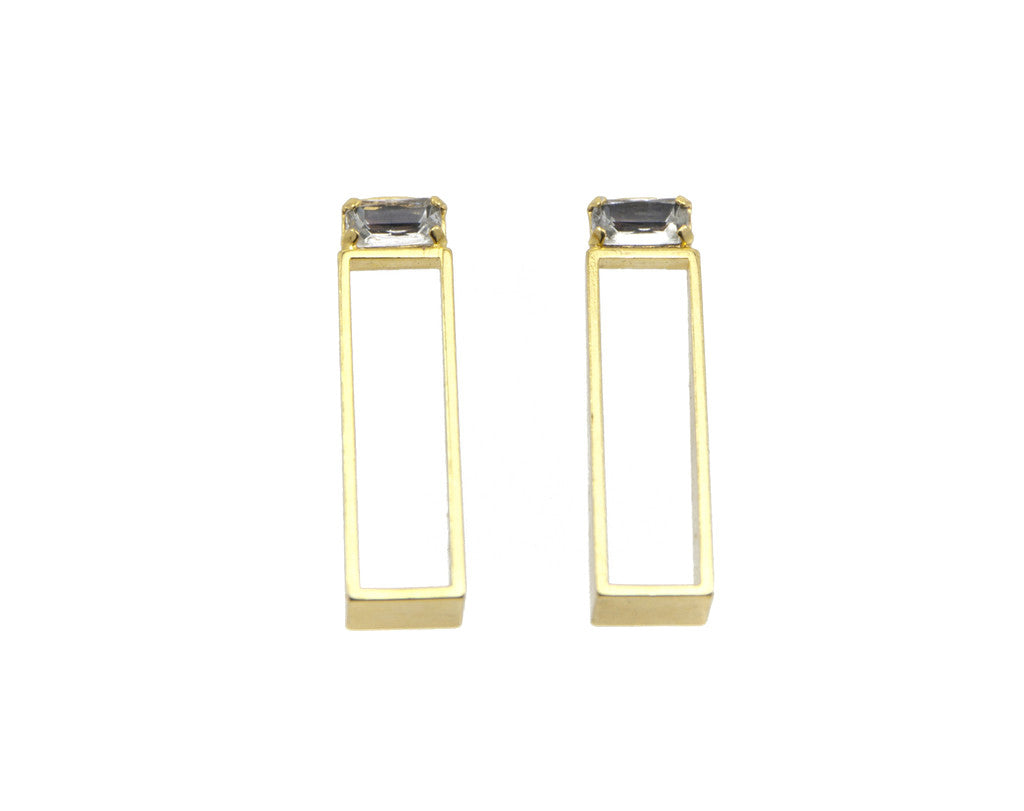 rectangle earrings with bagette swarovski