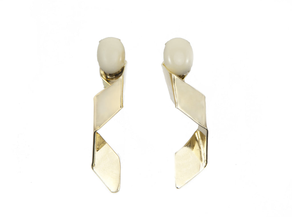 14 kt plated gold earrings with white matte swarovskI