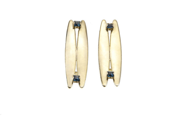 14 kt gold plated earrings with blue swarovski crystal