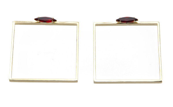 14 kt plated gold square earrings