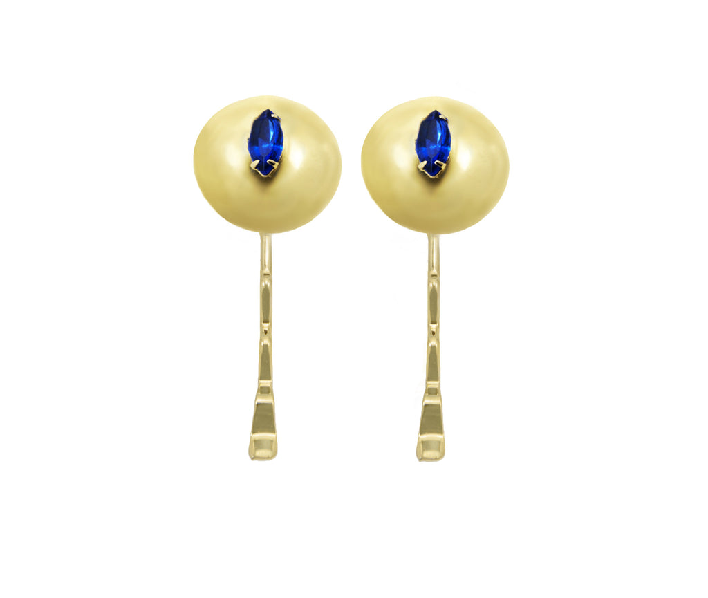 14 kt plated gold earrings with bluejay  swarovski