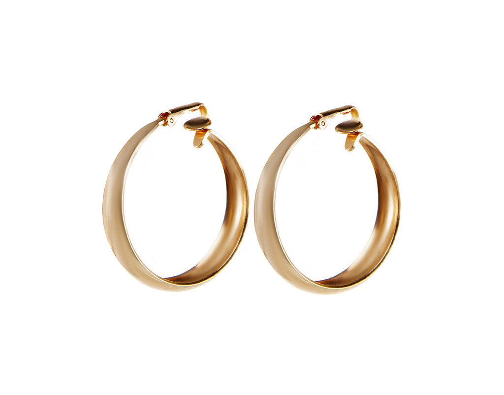 rose gold hoop clip on earrings