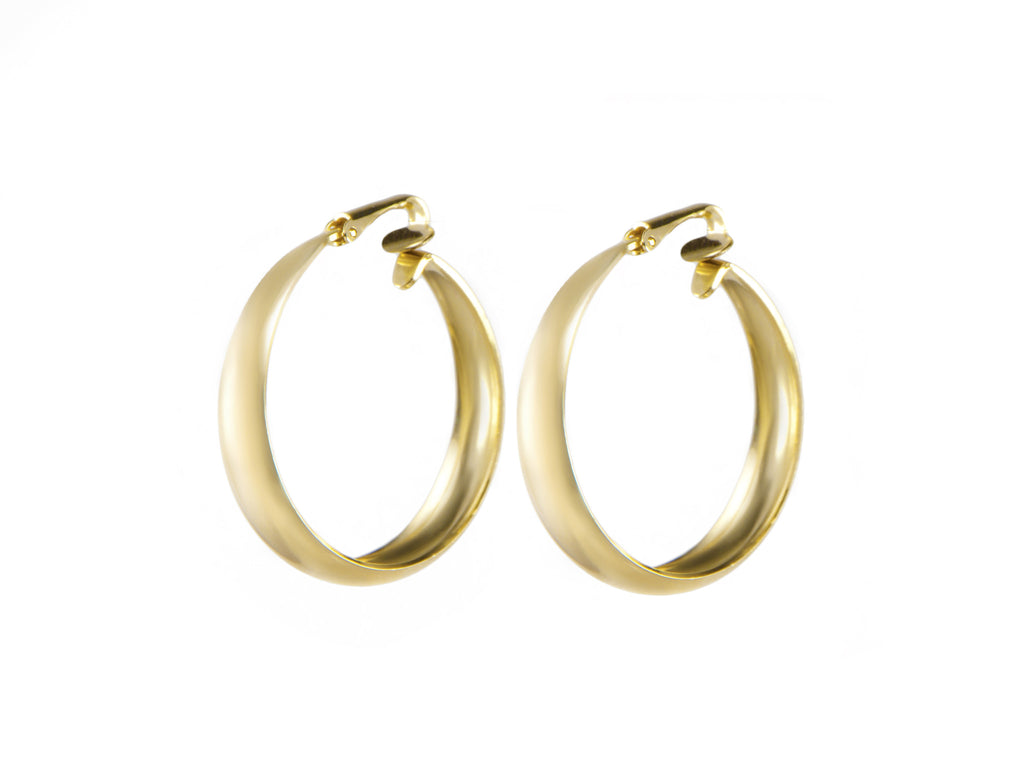 14 kt gold hoop clip on earrings