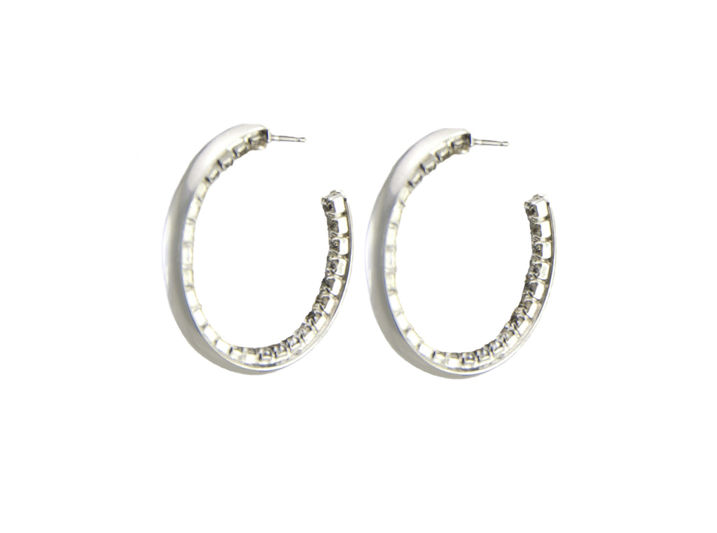 silver plated hoop earrings with clear swarovski crystal on inside