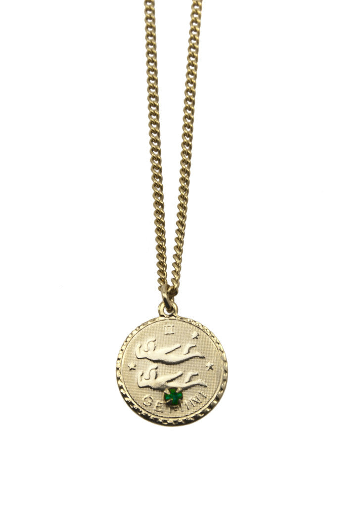 gold gemini necklace cam in