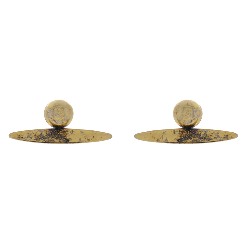 Acids post earrings in 14 kt plated gold