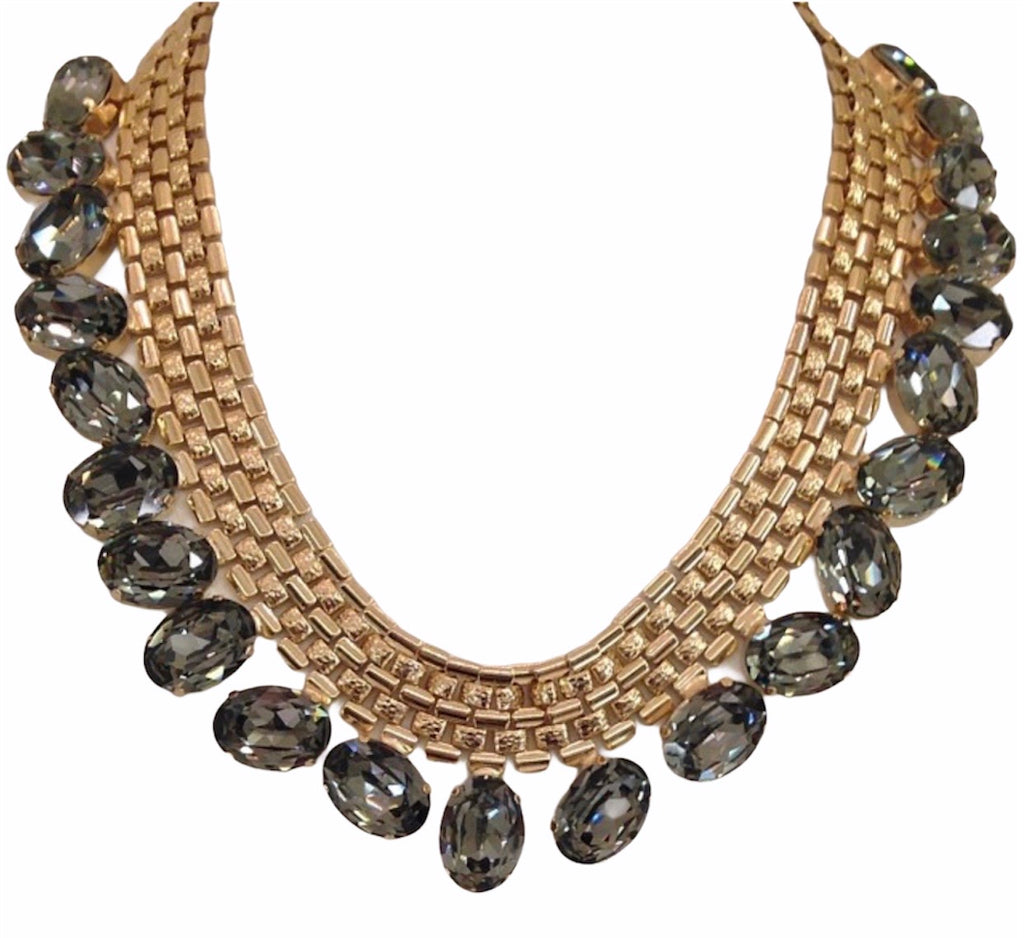 14 kt gold plated necklace with slate gray Swarovski crystal