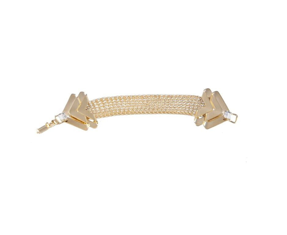 14 kt gold mesh bracelet with baguette clear swarovski