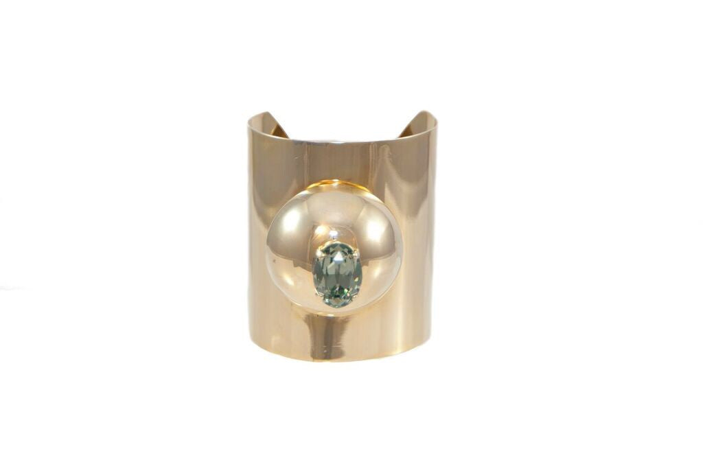 14 kt plated cuff with gray swarovski crystal in center