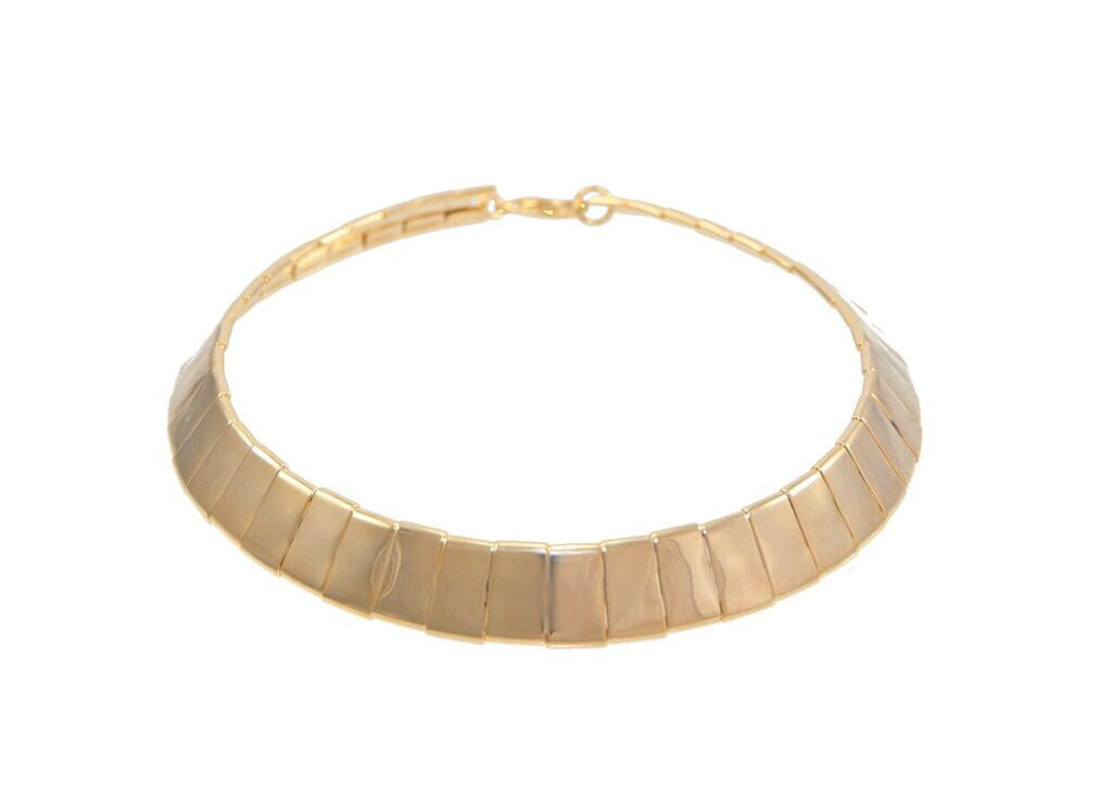 14 kt plated gold collar necklace