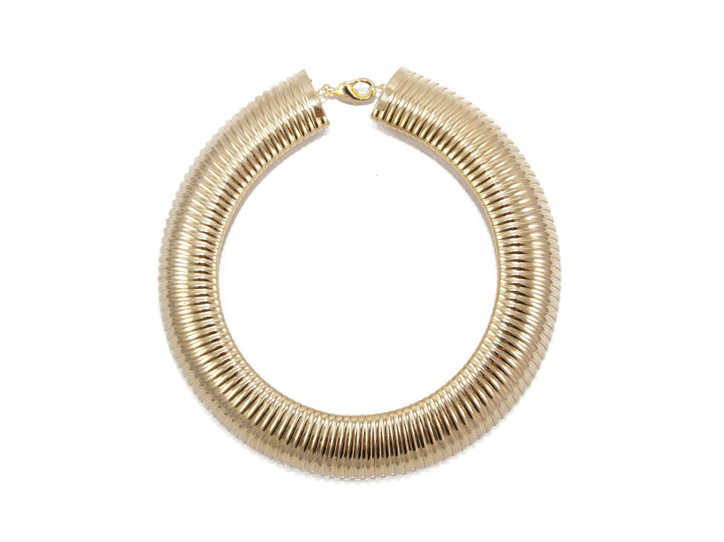 14 kt plated  coil collar necklace