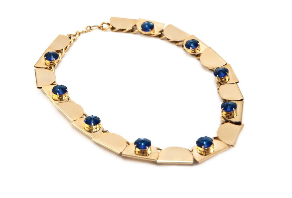 14 kt plated gold necklace with round blue swarovski crystal