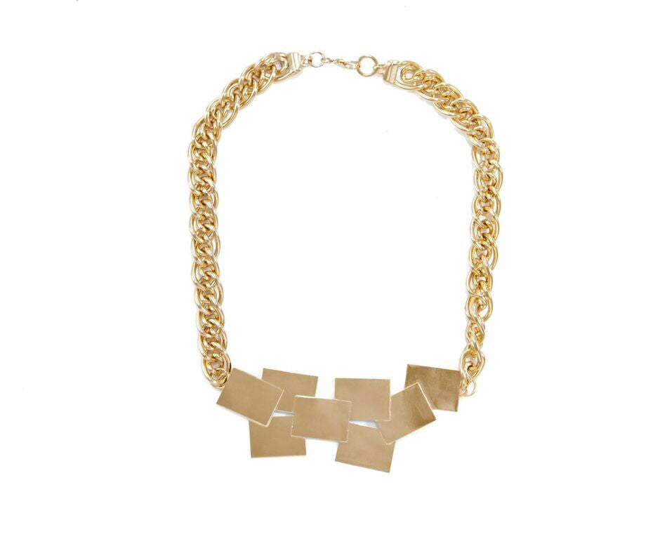 14 kt plated gold overlapping squares necklace