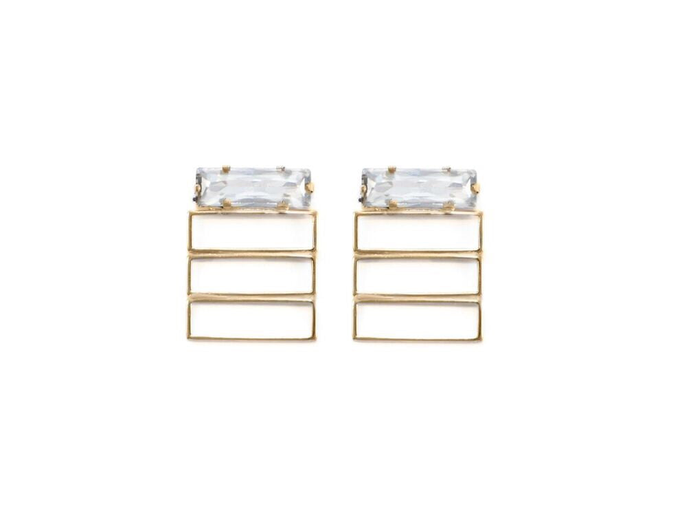 14 kt plated gold hollow rectangle earrings