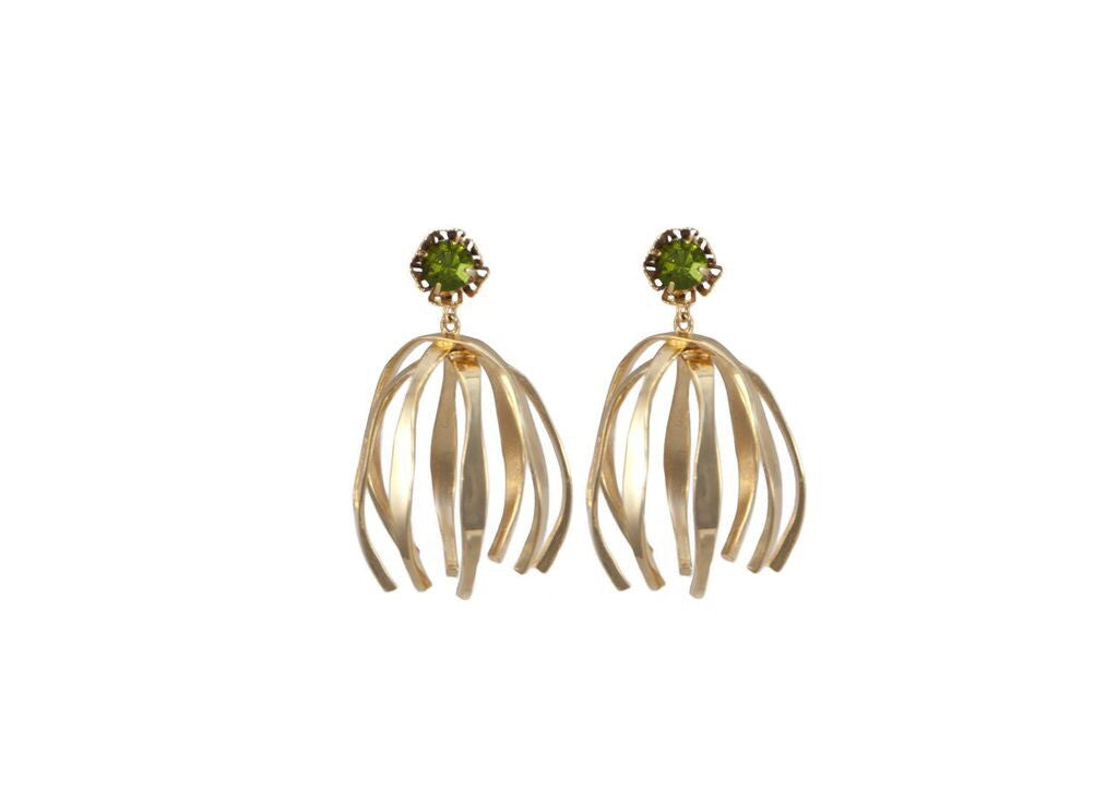 14 kt gold plated statement earrings with light green Swarovski crystal