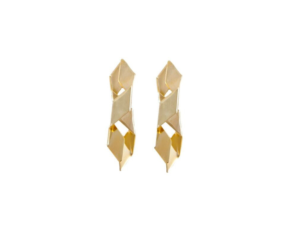 14 kt plated gold interlocked earrings