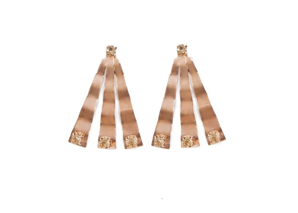 Rose gold statement earrings with swarovski crystal