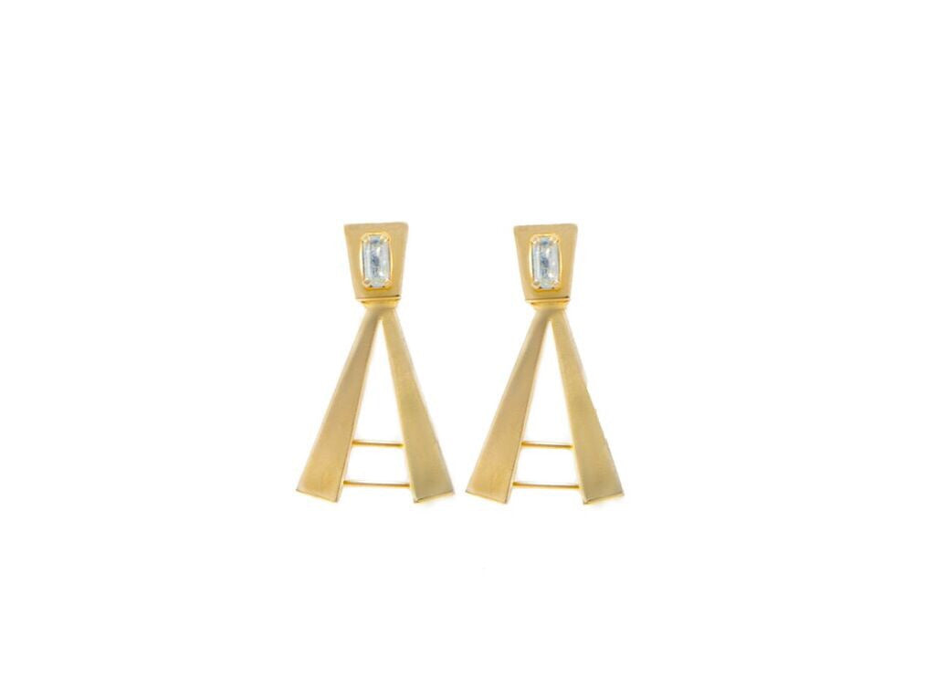 14 kt gold plated statement structure earrings with clear Swarovski crystal