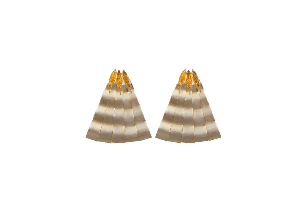 14 kt gold plated earrings with apricot colored Swarovski