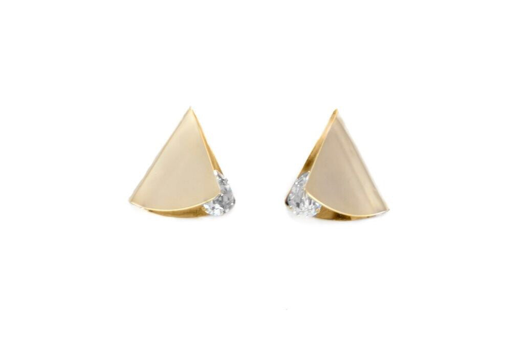 14 kt gold fold over earrings with clear tear drop swarovski crystal