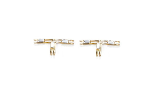 14 kt gold plated statement earrings with clear Swarovski crystal