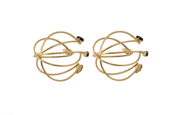 14 kt gold plated cage earrings with black matte Swarovski crystal detail