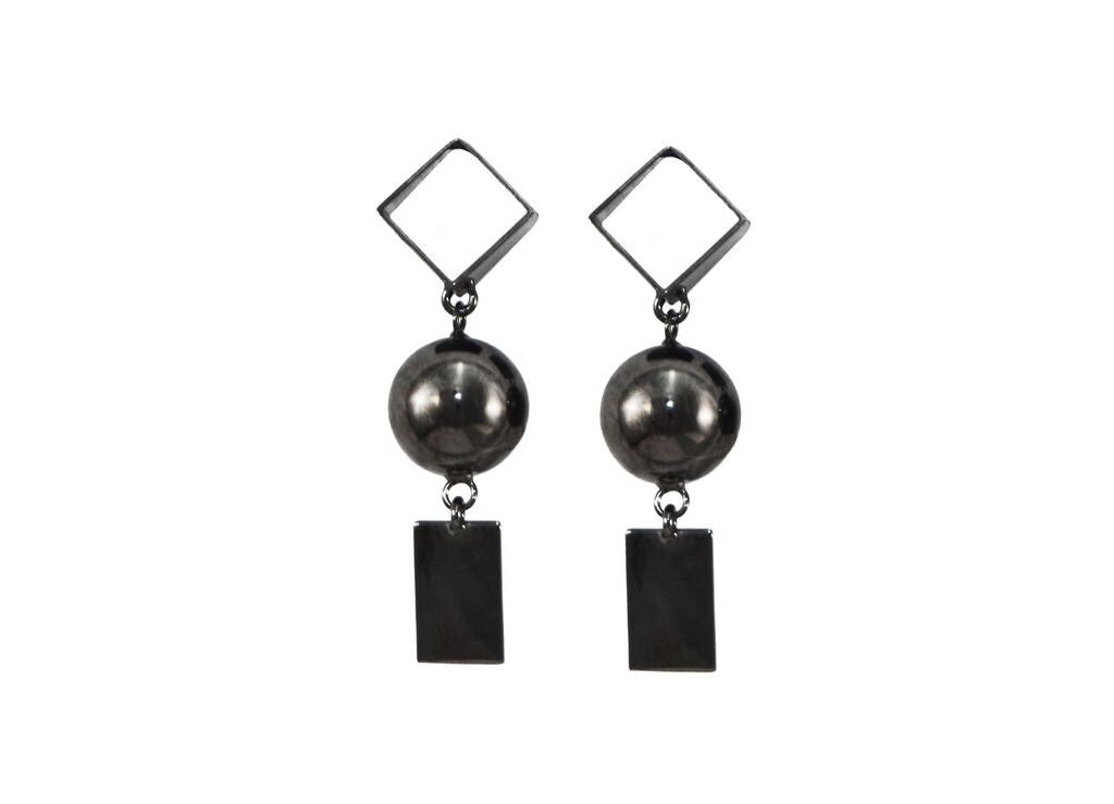Gunmetal dangling earrings