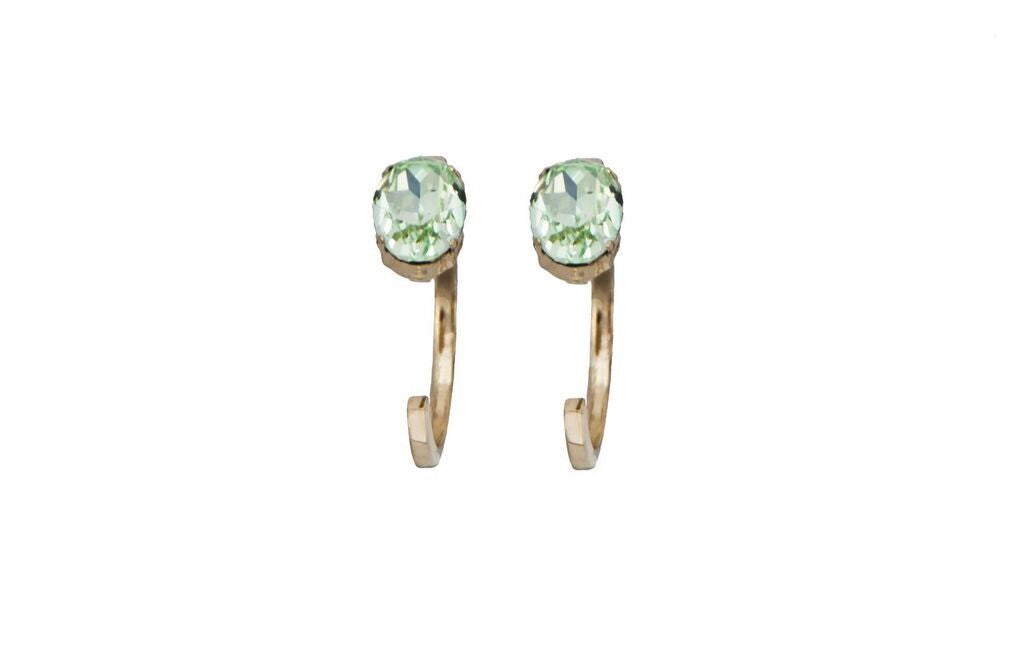 14 kt plated gold earrings with light green Swarovski crystal detail