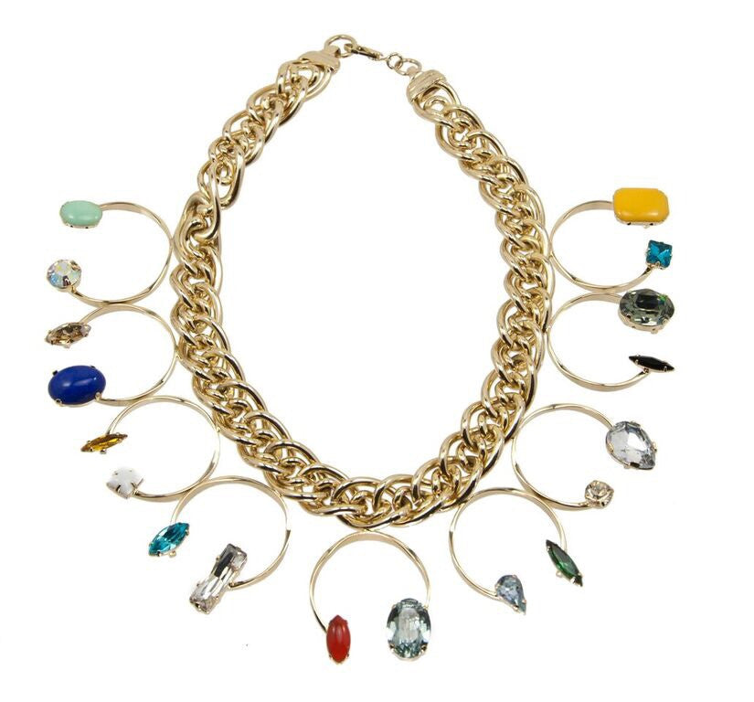 14 kt plated gold necklace with an array of different color swarovski crystals and shapes