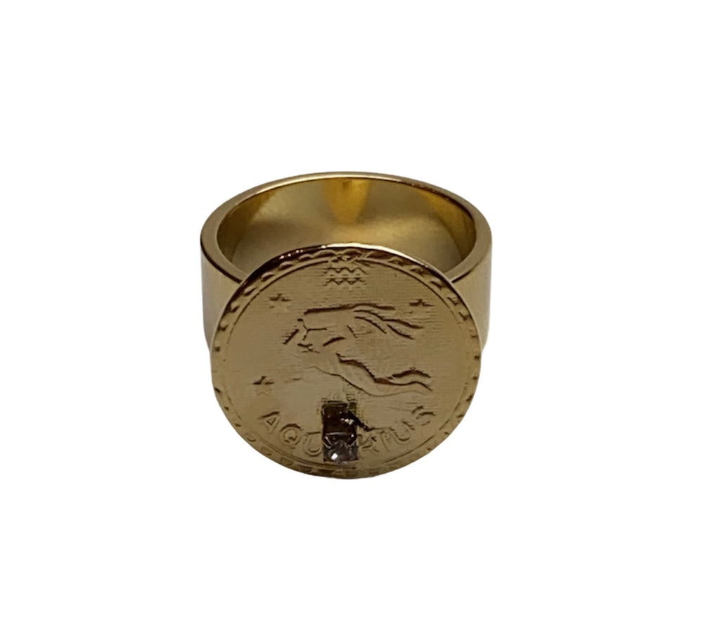 14 KT GOLD PLATED AQUARIUS ZODIAC RING