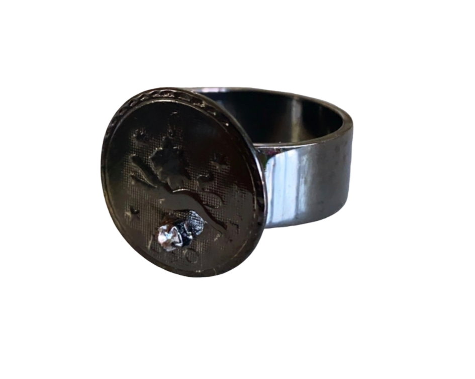 leo ring in gunmetal size 9,size10