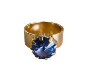 14 k gold ring with Swarovski in deepest purple