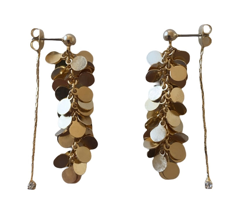 14kt plated gold grape discs earrings with Swarovski dangle