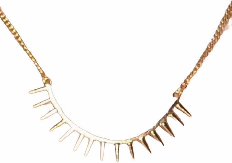 14 kt gold plated spike necklace