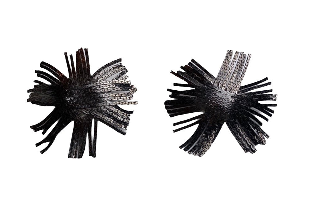 Gunmetal fringe earrings