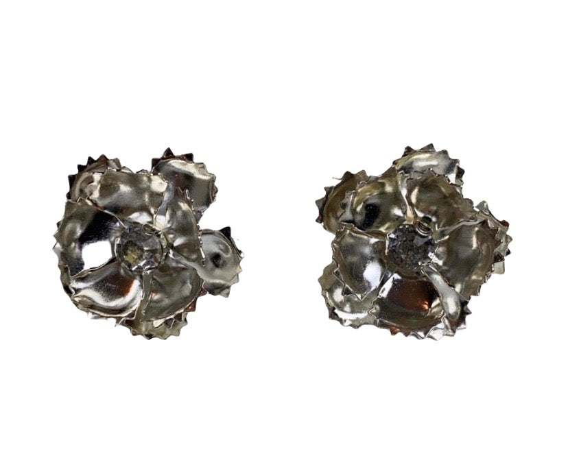 Silver plated layered flower earrings