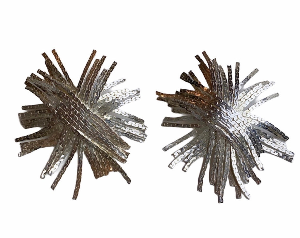 Silver plated fringe statement earrings