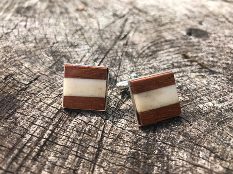 Custom cufflinks antler wood J Boult Designs