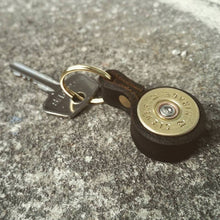 Load image into Gallery viewer, Shotgun Cartridge Key Ring With Leather Strap - J Boult Designs