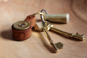Shotgun Cartridge Key Ring With Leather Strap - J Boult Designs