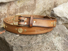 J Boult Designs Shotgun Cartridge studded Leather Belt