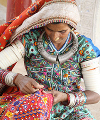 embroidering in Jaipur