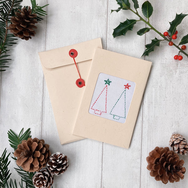 Handmade Christmas Card - Embroidered Two Trees