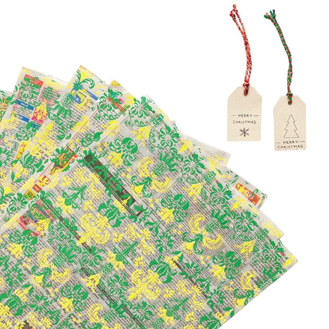 Yellow & Green Up-Cycled Wrapping Paper + Gift Tag Set