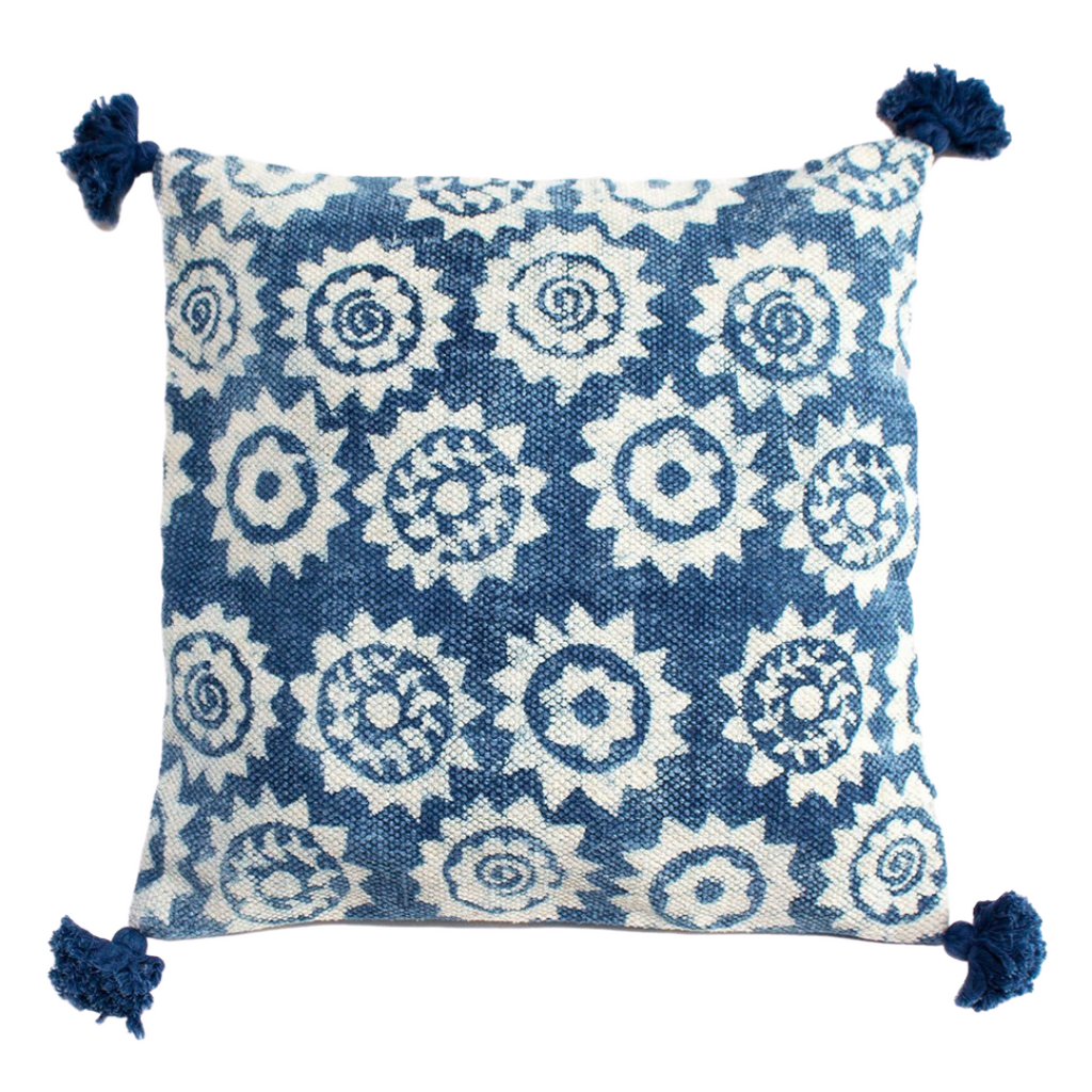 Indigo Block Printed Monkey Puzzle Cushion Cover