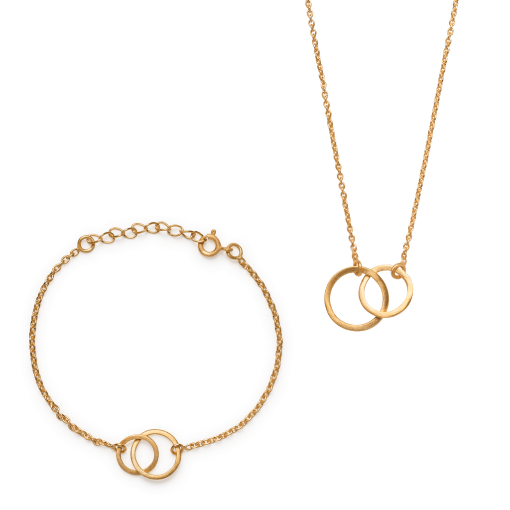 Kavita Bracelet & Necklace Set - Matte Gold