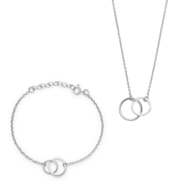 Kavita Bracelet & Necklace Set - Mixed Silver Finish