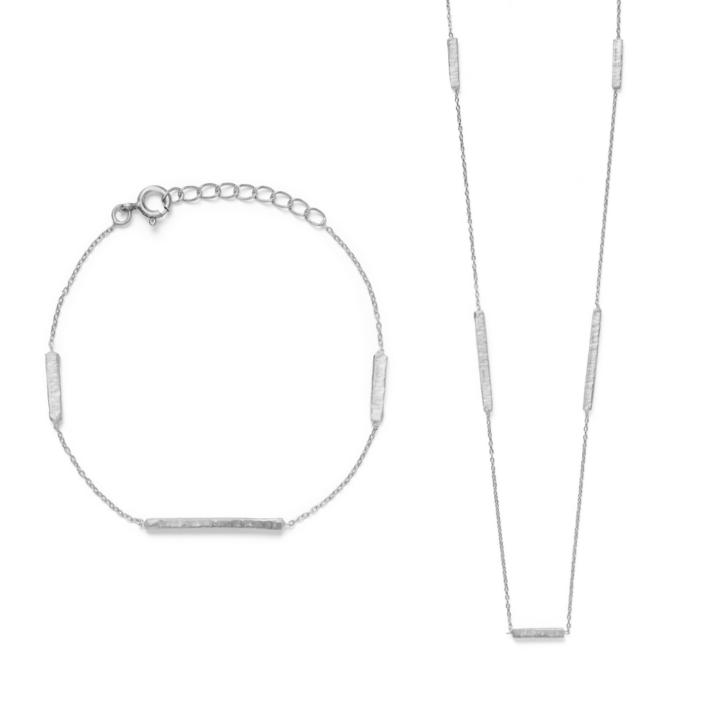 Madhu Bracelet & Necklace Set - Silver