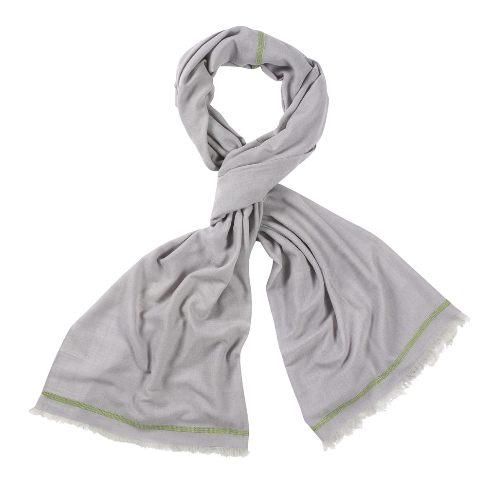 Grey and Olive Handloomed 100% Pashmina
